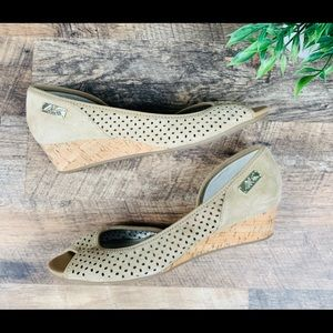 Anne Klein Sport Perforated Suede Wedges Size 8